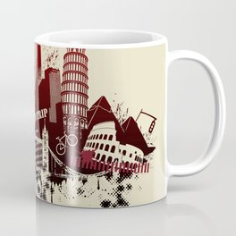 figures on international sites in grunge illustration Coffee Mug