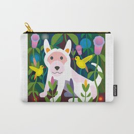 White Dog in Garden Carry-All Pouch