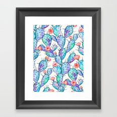 Rainbow Watercolor Cactus Pattern Framed Art Print