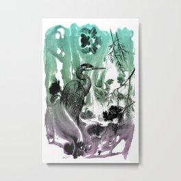 Blue Heron in Pen and Ink Metal Print