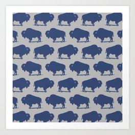 Buffalo Bison Pattern Blue and Gray Art Print