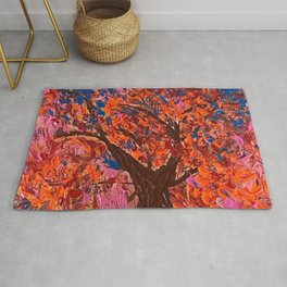 Fall Tree Leaves Orange Blue Pink Abstract Tree. Colorful Leaves Autumn Colors Rug