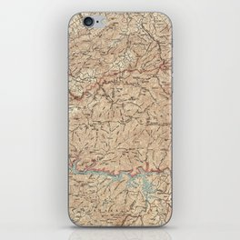 Vintage Smoky Mountains National Park Map (1949) iPhone Skin
