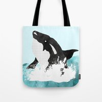 killer whale Tote Bags featuring The Killer Whale  by Jasmine Smith
