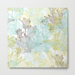 Green, Blue and Brown Tulips Pattern Metal Print