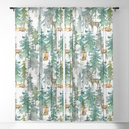 Woodland Friends Wild Animals In Forest Sheer Curtain