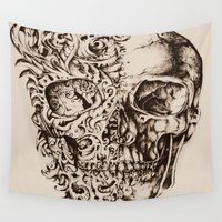skeleton Wall Tapestries featuring Skeleton by ViviRajski
