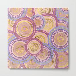 Circular Ethnic  pattern pastel gold purples, blue Metal Print