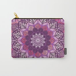 Boho Mandala in Deep Purple and Pink Carry-All Pouch