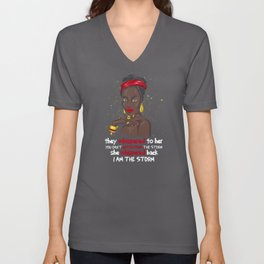 Black History Month African Woman Afro Unisex V-Neck