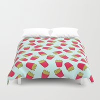 fries Duvet Covers featuring Fries by weheartstore