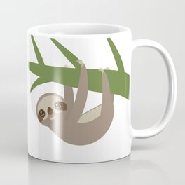 Three-toed sloth on green branch Coffee Mug