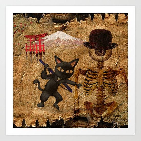 The cat and Monsieur Bone in Japan Art Print