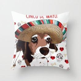 Cinco de Beagle Throw Pillow
