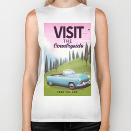 "Visit the Countryside ""Take the Car"" Cartoon travel poster. Biker Tank"