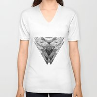 trex V-neck T-shirts featuring TREX by moln4rt