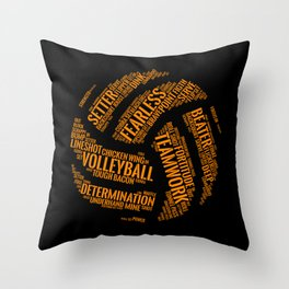 Orange Volleyball Wordcloud - Gift Throw Pillow