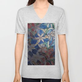 Stained Glass Floral Dreaming Red Blue Green Pattern White Clematis Petals Leaves Digital Graphic Photography Unisex V-Neck