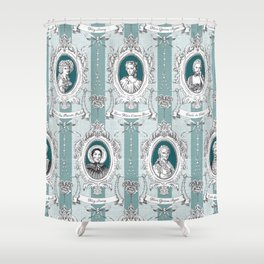 Science Women Toile de Jouy - Teal Shower Curtain