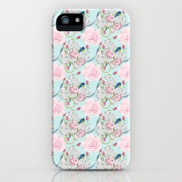 Bluebirds and Shabby Chic Roses on Paris Blue iPhone Case