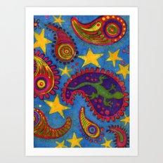 Lizard Paisley Batik Art Print