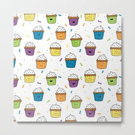 Cute Happy Fun Cupcakes with white background Metal Print