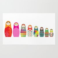 russian Area & Throw Rugs featuring Russian Dolls by malobi