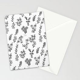 Floral White Pattern Stationery Cards
