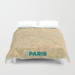 Paris Map Retro Duvet Cover