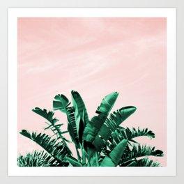 Turquoise Banana and palm Leaves Art Print