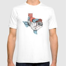 The Heart of Texas (Red, White and Blue) White LARGE Mens Fitted Tee