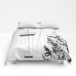 Ski Lift // Black and White Daylight Chairlift Mountain Photograph Comforters