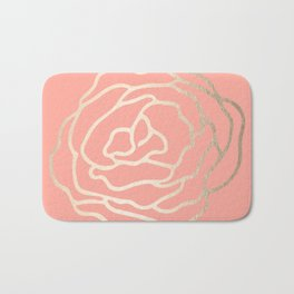 Flower in White Gold Sands on Salmon Pink Bath Mat