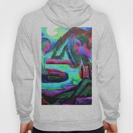 Accordion Player by Moonlight - Ernst Ludwig Kirchner Hoody