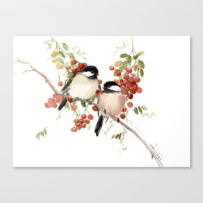 Chickadee Bird Vintage Bird Artwork, two birds, chickadees woodland design Leinwanddruck