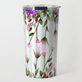 Modern lavender purple pastel green floral stripes Travel Mug
