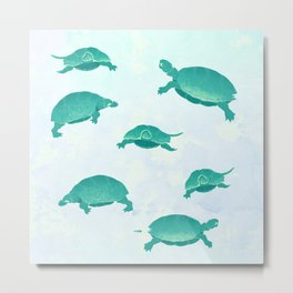 Song of the turtle- save our seas Metal Print