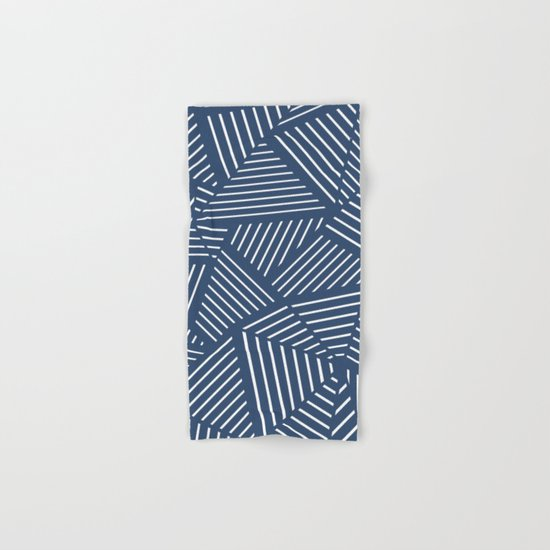Abstraction Linear Zoom Navy Hand & Bath Towel