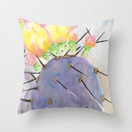 Watercolor Cute Purple Cactus With Flowers Throw Pillow