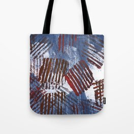 Red blue striped abstract Tote Bag