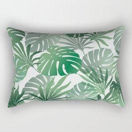 Green Jungle Palm Leaves Monstera #society6 Rectangular Pillow