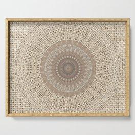 Unique Texture Taupe Burlap Mandala Design Serving Tray