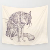 antler Wall Tapestries featuring Wolf and Antler by Serena Quinn Illustrations