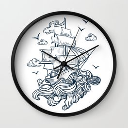I'm moving in the raging waves Wall Clock