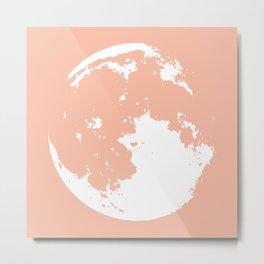 moon peach and white Metal Print