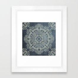 Mandala Vintage Ivory Blue Framed Art Print