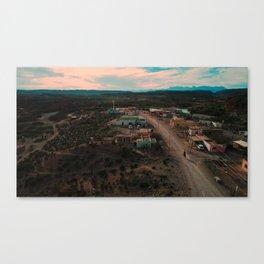 Aerial Mexican Cowboy's Dusty Boquillas Ride Canvas Print