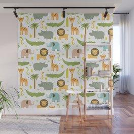 Cute orange green safari animals pattern Wall Mural