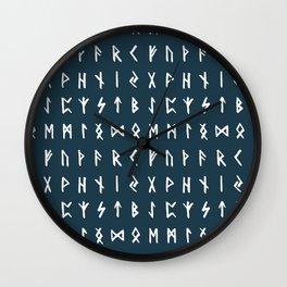 Nordic Runes // Regal Blue Wall Clock