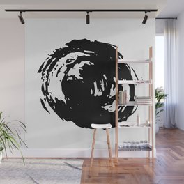 Whorl Black on White Wall Mural